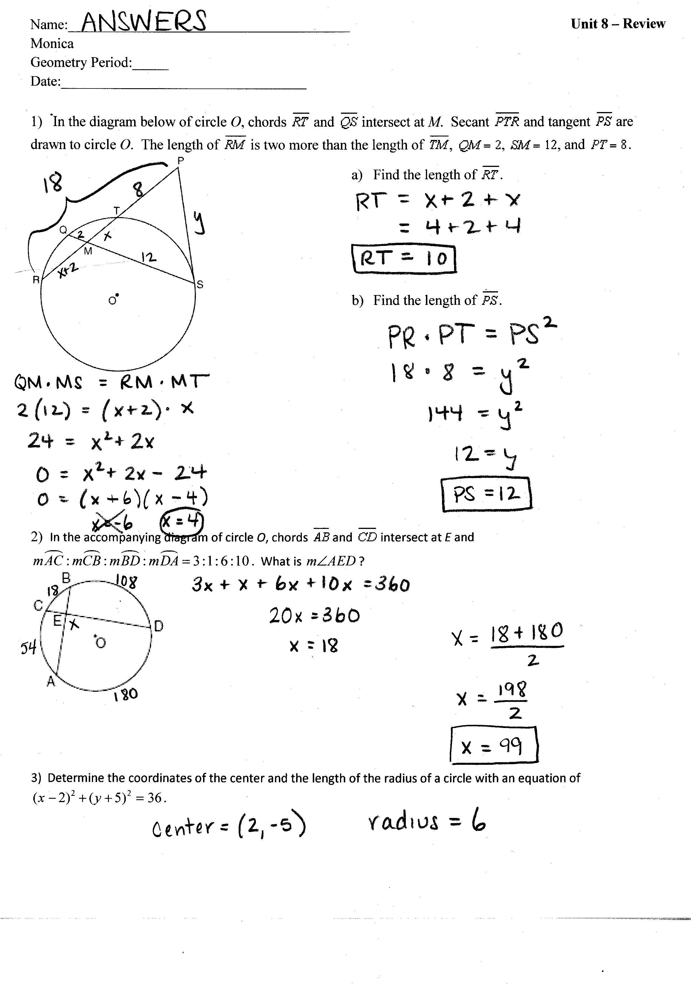 unit 8 circles tywls geometry 2013 2014 unit 8 review answers page 1